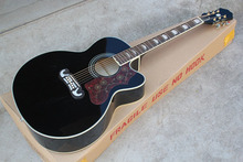Free shipping wholesale Top Quality sj200 Acoustic Guitar black add fisherman pickup add hardcase in stock .