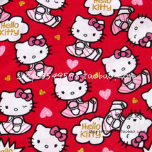 140X100cm Red Background Hello Kitty Sweetheart Cotton Fabric for Baby Girl Cloth Sewing Patchwork DIY-AFCK103(China)
