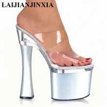 LAIJIANJINXIA Transparent Platform Slippers 18 CM High-Heeled Shoes Sexy Hand Made Stripper Shoes 7 Inch Super High Slippers(China)