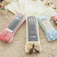 3 Colors Bowknot TV Remote Control Case Air Condition Remote Control Cover Textile Protective Bag Protector Holder Storage 1PC(China)