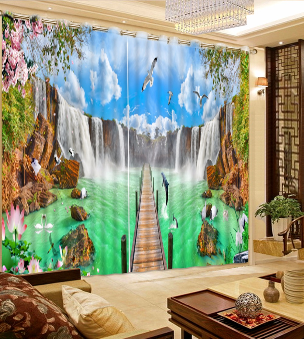 Customize 3d Luxury Curtains Waterfall Blue Sky Pigeon Landscape 3d Photo  Curtains In The Living Room