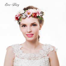 2017 Women Flower Crown Festival Wedding Girls Party Floral Headband Garlands Halo With Ribbon Rattan Flower Headband Wreath(China)