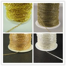 New Factory Price 20M 2mm Silver Gold Bronze Brass Flat Cable Chain Handmade Jewelry Necklace Findings in Bulks