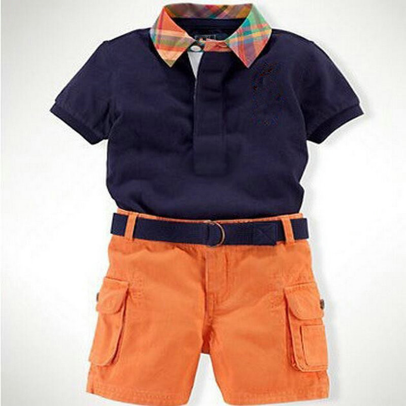 Summer Baby Boys Clothing Sets Plaid Collar Shirt + Orange Shorts Baby Boys Tracksuits Brand Navy T Shirts Tees Child Pants<br><br>Aliexpress