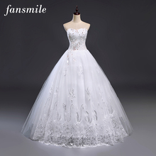 Fansmile Cheap Free Shipping Lace Wedding Dresses Vestidos de Novia 2017 Vintage Plus Size Bridal Gowns Under $50