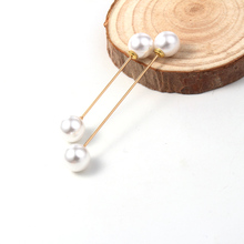 1Set/2PCS Charm Double Simulated Pearl Brooch Pins For Women Lapel Brooch Jewelry Dress Suit Pin Brooch Christmas Gift P705(China)
