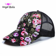 Angel Bola Fashion Mesh Rose Flowers High Quality ny Cap Adjustable Cotton Hat Snapback Outdoor Hip Hop Women's Baseball Cap(China)