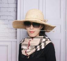Buy 12pcs/Lot Women Summer Raffia Straw Cap Lady Natural Beach Straw Hat Ladies Brim Hats Sun Caps Wholesalers China Suppliers