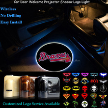 2x Wireless Car Door Atlanta Braves Logo Welcome Senor Ghost Shadow Spotlight Laser Projector Puddle LED Light(China)