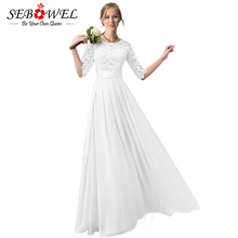SEBOWEL 2018 Long White Dress Women Elegant Floral Lace Chiffon Dress Floor Length Pleated Women Half Sleeve Long Party Dress(China)