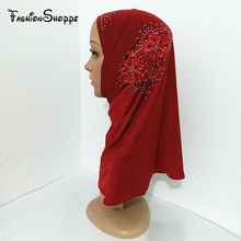 2017 Girls Kids Muslim Hijab Islamic Arab Scarf Shawls with Beautiful Flowers YS236(China)