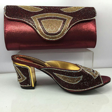 New Arrival Wine Color Italian Shoes with Matching Bag Set Decorated with Rhinestone African Shoe and Bag Set Italy Shoe and Bag
