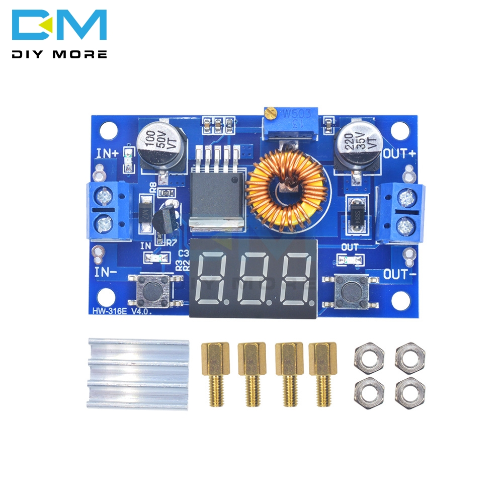 High-power 5A 75W DC-DC adjustable buck power supply module with voltage meter