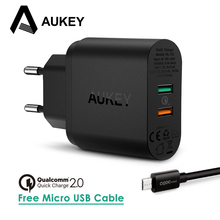 USB Charger AUKEY Quick Charge 2.0 Portable Wall Fast Charger Samsung Galaxy s8 iPhone 7 Plus Xiaomi Universal Phone Charger