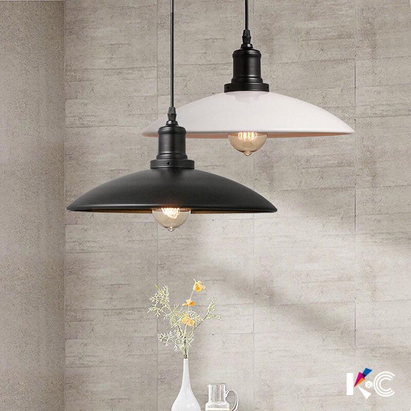 Nordic warehouse industry retro Pendant light loft iron Restaurant  White Black cover  pendant lamp<br>