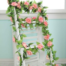 245cm Artificial Silk Roses Ivy Hanging Vine Fake Flowers Flores Rattan with Green Leaves For Home Wedding Decoration Wreaths