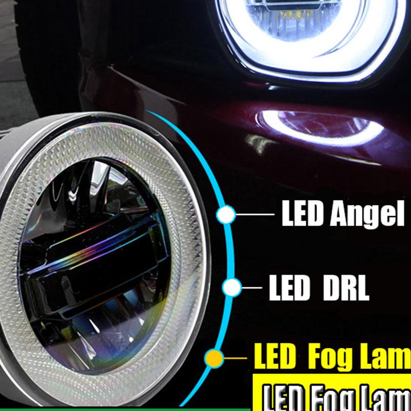 EN Car-styling LED Daytime Running Light Fog Light For Mitsubishi Pajero Sport LED Angel Eyes DRL Fog Lamp 3-IN-1 Functions<br>
