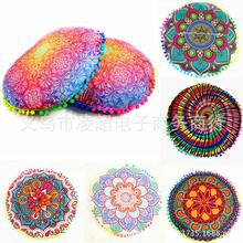 Custom New Design Gradient Flower Round Throw Pillow Home Decor Bedside Chair Mandala Floor Cushion(China)