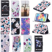 Stand Flip Wallet Cover Leather Cartoon Style Pattern For Samsung Galaxy S5 SM-G900F S5 5 Neo SM-G903F S5Neo Full Housing Cases