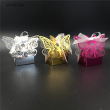 50pcs 5 Color Metal Big Butterfly Laser Cut Wedding Box With Ribbons Wedding Decoration Wedding Supplies Wedding Favor Gift Box