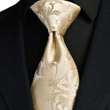 Elegant Floral Solid Cream Beige Champagne Gold Mens Ties Neckties 100% Silk Jacquard Woven Free Shipping Wholesale(China)
