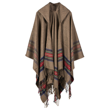 New fashion women winter shawl and wraps thick warm blanket scarf oversize hooded black ponchos and capes striped tassel echarpe(China)