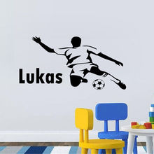 Personalized Any Name Vinyl Wall Decal For Boys Bedroom Football Player Wall Sticker Home Decor Living Room Self Adhesive ZA588