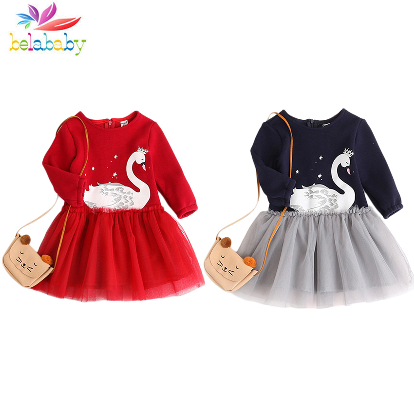 2018 Swan Girls Princess Dresses Cute Casual Winter Sweater Dresses Fashion Long Sleeve Elegant Dresses Children Clothing