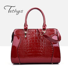 Tethys New Fashion Crocodile Pattern Women Messenger Bag Embossed Leather Women Handbag Patent Leather Satchel Female Tote Sac