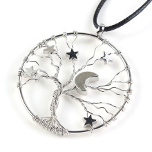 Kraft-beads Trendy Silver Plated Inlay lucky Star And Tree of Life Pendant Half Moon Necklace Rope Chain Unique Jewelry