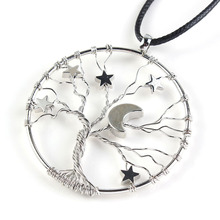 Kraft-beads Trendy Silver Plated Inlay lucky Star Tree of Life Pendant Half Moon Necklace Rope Chain Amulet Jewelry(China)