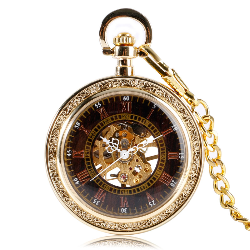Retro Luxury Gold Exquisite Mechanical Pocket Watch Women Open Face Roman Numbers Stylish Chain Hand Winding Men Xmas Gift<br><br>Aliexpress