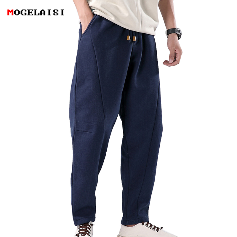 Winter Men's Pants Thick Linen Cotton Elastic Waist 76-98cm Men Trousers Slim Flax Full Length Pants Linen Fleece Size M-3XL