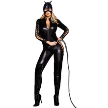 Buy AIIOU Sexy Black Latex Jumpsuits Costumes Womens Sexy Gothic Punk Fetish Catsuit Female Faux Leather PU Club Wear Jumpsuit