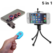 New 5in1Camera Kit Fisheye Lens Wide Angle Lens Macro Lens with Tripod Bluetooth shutter for iPhone HTC Meizu Samsung JZS10