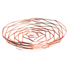 Rose Golden Round Shape Office School Supplies Desk Accessories Organizer Stationery Holder Iron Mesh Wire Holder(China)
