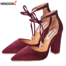 Buy 2017 High Heels Women's Sandals Spring Autumn Flock Shoes Woman Ladies Pumps Sexy Thin Air Heels Footwear Women Shoes Lace for $12.40 in AliExpress store