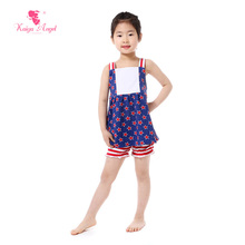2017 Summer Girls Clothes Patriotic Blue Red Star Suspender Dress Stripe Shorts Set Toddler Girl Clothing 4th Of July Outfits
