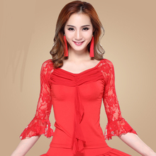 Adult Latin dance clothes autumn female Lei mesh yarn Slim thin sleeve dance clothesOne-piece tops-do724(China)