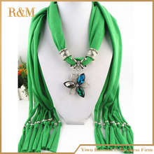 hot selling fashion Lady beads chain flower pendant scarf necklace charm woman girls ornament accessories wholesale scarves
