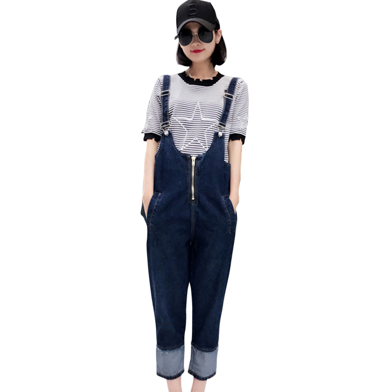 2017 New Women Jeans Jumpsuit Autumn Casual Vintage Loose Washed Denim Overall Women Clothing  Ankle LengthÎäåæäà è àêñåññóàðû<br><br>
