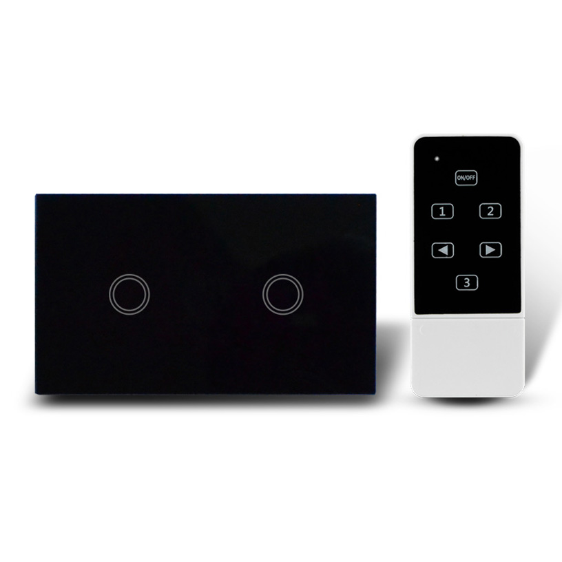US Model 2 Gang Remote Switch, Touch Glass Screen Light Switch with Remote Control function, 433Mhz, AC110-240V<br>