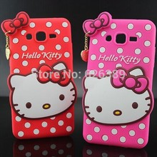 For Samsung Galaxy Grand Prime G530 Soft Rubber Polka Dot Hello Kitty Mobile Phone Bags Case Cover