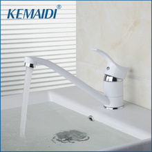 KEMAIDI Long Short Single Handle White Painting Mixer Hot And Cold Mixer Tap Solid Brass Basin Faucet Chrome Bathroom Faucet