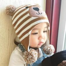 Baby Hat autumn Caps For Baby Boys Girls Children's Winter Hats Child Crochet Earflap Cap Photo Props RA5-13H(China)