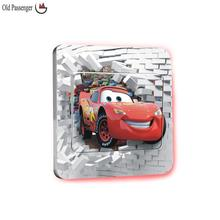 Old Passenger _ 3D switch stickers Cartoon Through The Brick Pixar Car Wall Sticker For Kids Rooms Wall Art Decal Mural