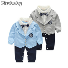 Kimocat Handsome Baby Boy Formal Party Long Sleeve Cotton Blended Christening Wedding Tuxedo Waistcoat Bow Tie Suit Kids Child