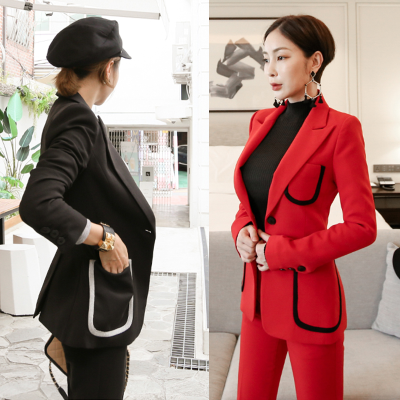 Fashion Red Black Pant Suits For Women Pocket Double Breasted Blazer
