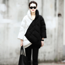 2014 Winter Coat Women New European Fashion Week Catwalk Long Section Black And White Mix Color Pregnant Thick Warm Down Jacket(China)