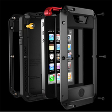 Waterproof shockproof phone cases For iphone7 7p 6 6s 5 5s 5SE 4s Metal Aluminum double protect Rugged case cover+Tempered glass